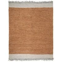 Safavieh Hand-Woven Vintage Leather Modern & Contemporary Light Grey / Brown Leather Rug - 8' x 10'