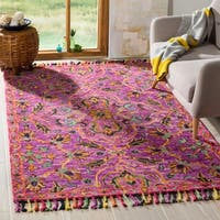 Safavieh Handmade Blossom Modern & Contemporary Purple / Multi Wool Rug - 3' x 5'