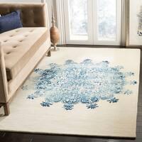 Safavieh Handmade Dip Dye Vintage Ivory / Blue Wool Rug - 4' x 6'