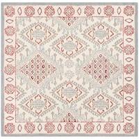 Safavieh Handmade Micro-Loop Transitional Ivory / Red Wool Rug - 5' x 5' square