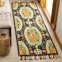 Safavieh Handmade Blossom Charcoal/ Gold Wool Tassel Area Rug - 2' x 3'