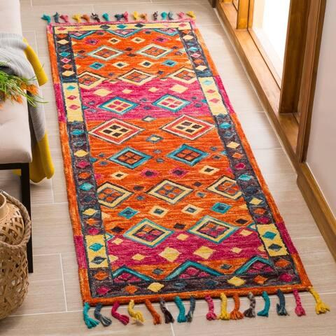 "Safavieh Handmade Aspen Modern & Contemporary Orange / Fuchsia Wool Tassel Area Rug - 2'3"" x 5'"