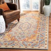 Safavieh Handmade Antiquity Traditional Blue / Gold Wool Rug - 6' x 6' Round