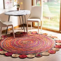 Safavieh Hand-Woven Cape Cod Modern & Contemporary Red / Multi Jute Rug - 7' x 7' Round