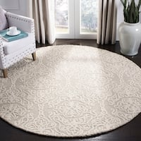 Safavieh Handmade Blossom Modern & Contemporary Silver / Ivory Wool Rug - 6' x 6' Round