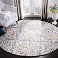 Safavieh Handmade Blossom Modern & Contemporary Blue / Ivory Wool Rug - 6' x 6' Round
