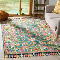 Safavieh Handmade Aspen Josie Floral Turquoise/ Purple Wool Tassel Area Rug - 5' x 8'