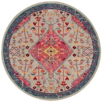 "Safavieh Madison Boho Medallion Cream / Pink Rug - 6'7"" x 6'7"" round"