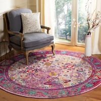 Safavieh Crystal Vintage Light Blue / Fuchsia Rug - 7' x 7' Round