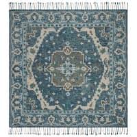 Safavieh Handmade Aspen Modern & Contemporary Dark Blue / Grey Wool Tassel Area Rug - 7' x 7' Square