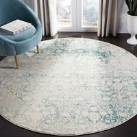 """Safavieh Passion Modern & Contemporary Turquoise / Ivory Rug - 6'7"""" x 6'7"""" round"""