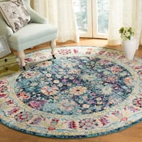 Safavieh Savannah Bohemian & Eclectic Navy / Blue Polyester Rug - 7' x 7' Round