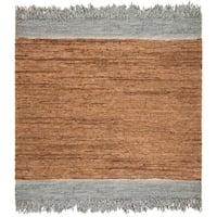Safavieh Hand-Woven Vintage Leather Modern & Contemporary Light Grey / Brown Leather Rug - 6' x 6' Square