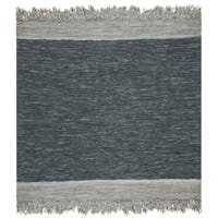 Safavieh Hand-Woven Vintage Leather Modern & Contemporary Light Grey / Dark Grey Leather Rug - 6' x 6' Square