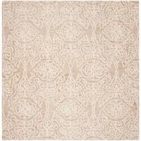 Safavieh Handmade Blossom Modern & Contemporary Beige / Ivory Wool Rug - 6' x 6' Square