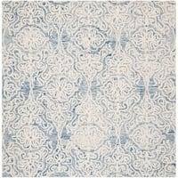 Safavieh Handmade Blossom Modern & Contemporary Blue / Ivory Wool Rug - 6' x 6' Square