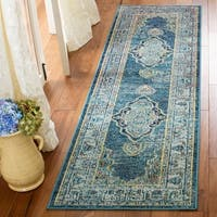 "Safavieh Crystal Vintage Blue / Yellow Rug - 2'2"" x 7' Runner"
