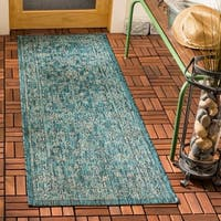 "Safavieh Courtyard Modern & Contemporary Turquoise Indoor Outdoor Rug - 2'3"" x 6'7"""