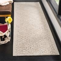 "Safavieh Handmade Trace Modern & Contemporary Light Beige Wool Rug - 2'3"" x 8'"