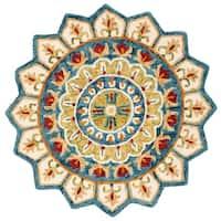 Safavieh Handmade Novelty Novelty Ivory / Blue Wool Rug - 4' x 4' Round