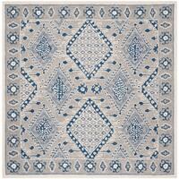 Safavieh Handmade Micro-Loop Transitional Light Grey / Blue Wool Rug - 5' x 5' square
