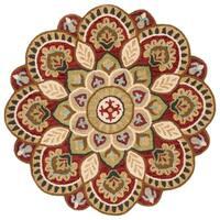 Safavieh Handmade Novelty Novelty Red / Taupe Wool Rug - 5' x 5' round