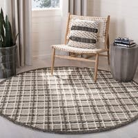 Safavieh Handmade Trace Modern & Contemporary Dark Grey / Light Grey Wool Rug - 6' x 6' Round
