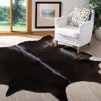 Safavieh Handpicked Hacienda Argentinian Brown Black Cowhide Leather Rug - 6' x 6'9""
