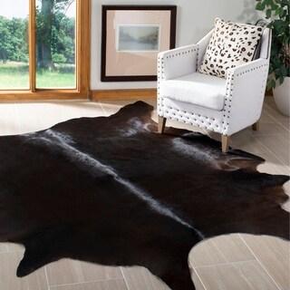 "Safavieh Handpicked Hacienda Argentinian Brown Black Cowhide Leather Rug - 6' x 6'9"""