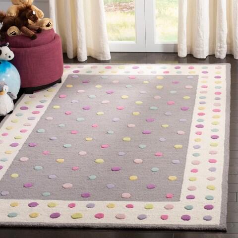 Safavieh Kids Handmade Polka Dot Grey / Multi Wool Rug - 4' x 6'