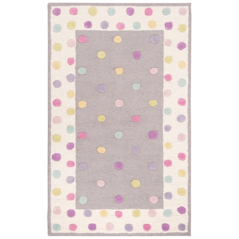 Safavieh Kids Handmade Polka Dot Grey / Multi Wool Rug - 3' x 5'