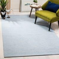 Safavieh Hand-Woven Marbella Modern & Contemporary Light Blue / Ivory Viscose Rug - 6' x 9'