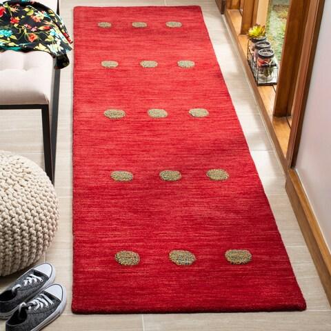 "Safavieh Hand-Woven Himalaya Modern & Contemporary Red Wool Rug - 2'3"" x 8'"