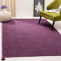 Safavieh Hand-Woven Montauk Modern & Contemporary Purple / Black Cotton Rug - 5' x 8'
