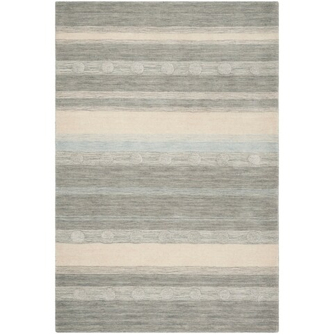Safavieh Kids Hand-Woven Modern & Contemporary Grey / Ivory Wool Rug - 6' x 9'
