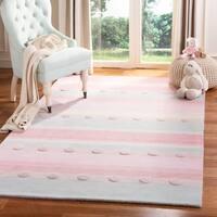 Safavieh Kids Hand-Woven Modern & Contemporary Light Blue / Pink Wool Rug - 5' x 8'