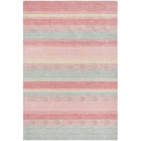 Safavieh Kids Hand-Woven Modern & Contemporary Light Blue / Pink Wool Rug - 6' x 9'