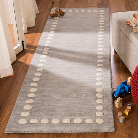 Safavieh Kids Hand-Woven Modern & Contemporary Blue / Ivory Wool Rug - 5' x 8'