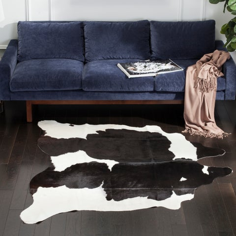 Safavieh Hacienda Argentinian Black Cowhide Leather Rug - 6' x 6'9""