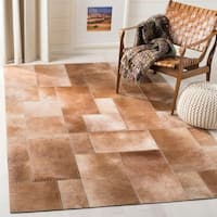 Safavieh Hand-Woven Studio Leather Modern & Contemporary Beige Leather Rug - 5' X 8'