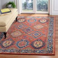 Safavieh Handmade Heritage Traditional Rust / Navy Wool Rug - 5' X 8'