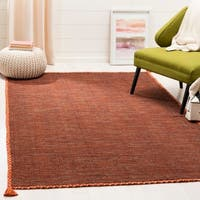 Safavieh Hand-Woven Montauk Modern & Contemporary Orange / Black Cotton Rug - 5' x 8'