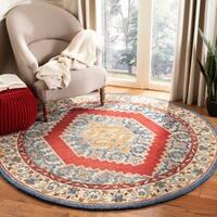 Safavieh Handmade Antiquity Traditional Blue / Red Wool Rug - 6' x 6' Round