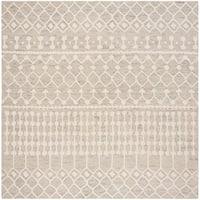 Safavieh Handmade Blossom Modern & Contemporary Silver / Ivory Wool Rug - 6' X 6' Square