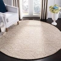 Safavieh Handmade Blossom Modern & Contemporary Beige / Ivory Wool Rug - 6' x 6' Round