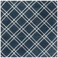 Safavieh Handmade Himalaya Modern & Contemporary Navy / Silver Wool Rug - 6' x 6' Square