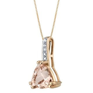 14K Rose Gold Genuine Morganite and Diamond Triad Pendant 1.75 Carats Trillion Cut