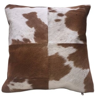 Brown & White Cowhide Pillow HEIFER. Double sided leather pillow.