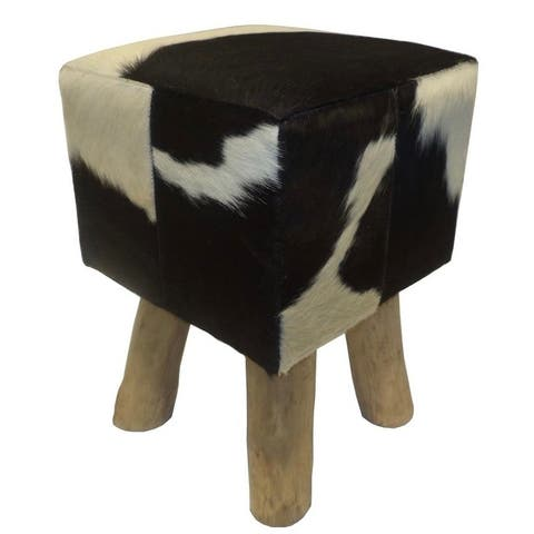 Square Stool & Pouf BRUNO with Black & White Cowhide