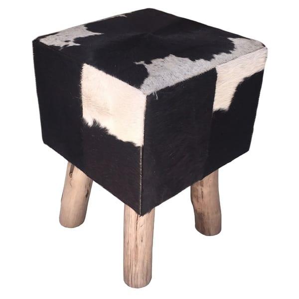 Enjoyable Shop Square Stool Pouf Bruno With Black White Cowhide Evergreenethics Interior Chair Design Evergreenethicsorg